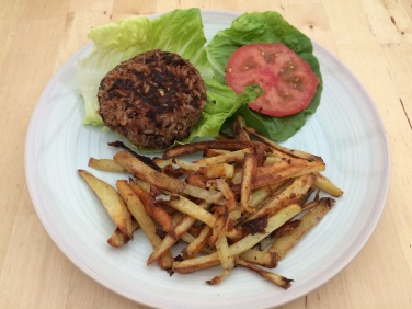 holisticden, introductions, natural beauty, holistic lifestyle, vegetarian, vegan, plant based, diet, food, vegan burger, black bean burger, skinny garlic fries